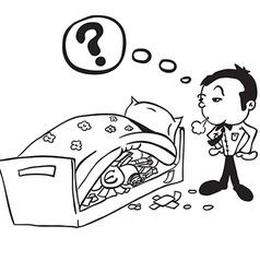 black and white man saving money vector image