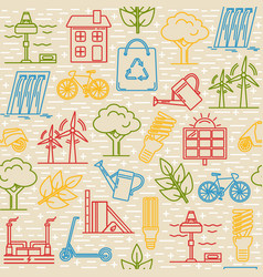Bright seamless pattern with eco symbols vector