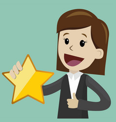 Businesswoman hold a big gold star victory vector
