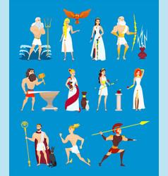 Cartoon greek gods set vector