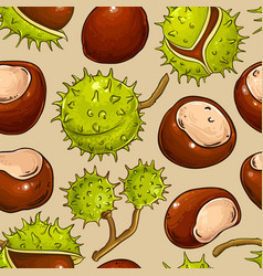 Chestnut nuts pattern on color background vector