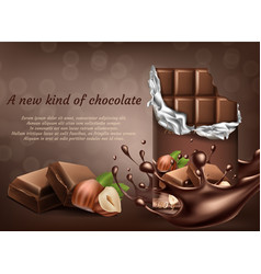 Chocolate with hazelnut ad poster banner vector