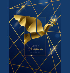 christmas and new year card gold art deco dove vector image