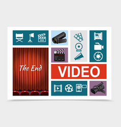 cinema elements composition vector image
