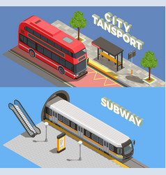 city transport banners set vector image