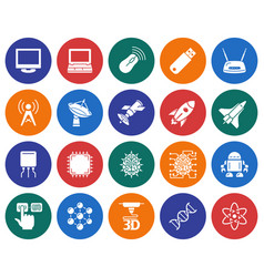 Collection of round icons high technology vector