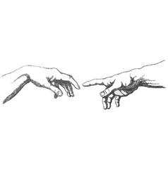 creation adam hands vector image