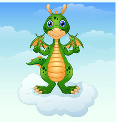 Cute cartoon green dragon giving thumbs up on the vector