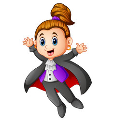 cute dracula girl cartoon vector image