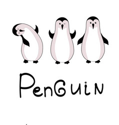 cute hand drawn penguins set - merry christmas vector image