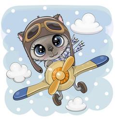 Cute kitten is flying on a plane vector