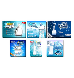 detergent bleach advertising banners set vector image
