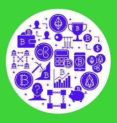 digital currency round poster in flat style vector image