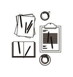 Document coffee mug and pencil design vector