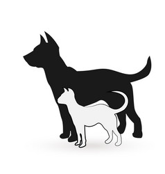 Dog and cat posing together icon vector