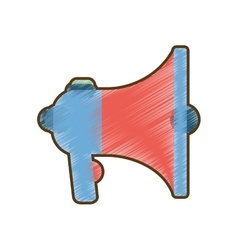 Drawing blue and red megaphone speaker marketing vector