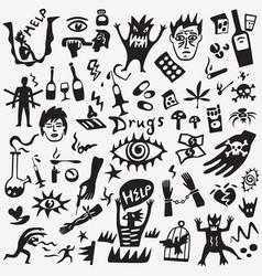Drugs doodles vector