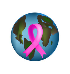 earth with pink ribbon is world breast cancer day vector image