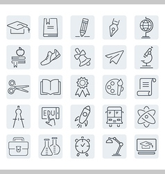 Education outline icon set vector image