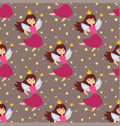 Fairy princess adorable characters seamless vector