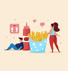 fast food french fries overeating concept with vector image