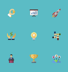 flat icons rocket coin support and other vector image