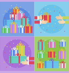 flat style festive holiday present boxes set vector image