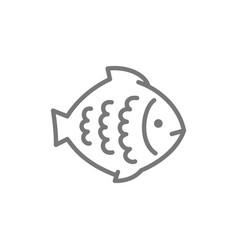 flounder fish aquatic animal line icon vector image