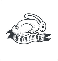 follow white rabbit tattoo sketch doodle vector image