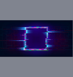 Glitch rectangle distorted glowing rectangle vector