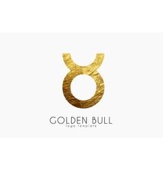Golden bull Golden zodiac sign Bull zodiac vector image