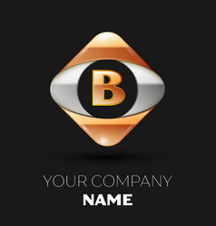 golden letter b logo in the golden-silver square vector image