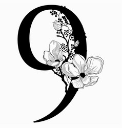 Hand drawn floral number nine monogram and vector