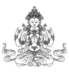 Hand-drawn sitting buddha meditating in lotus pose vector