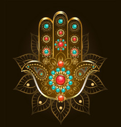 Hand hamsa with turquoise vector
