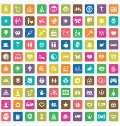 happiness 100 icons universal set for web and ui vector image