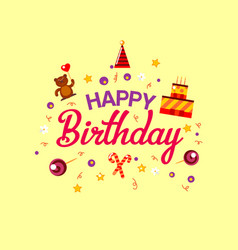 happy birthday flat style card with gifts vector image