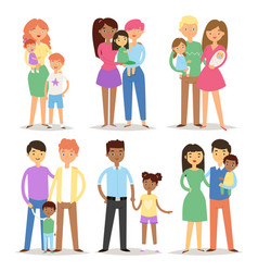 happy different family couples characters mother vector image vector image