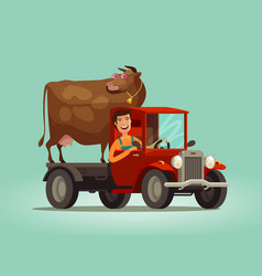 Happy farmer and cow rides on truck farming farm vector