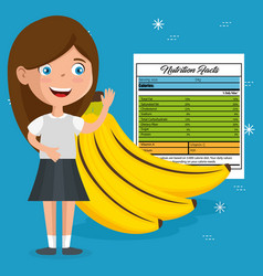 Happy girl with nutrition facts vector