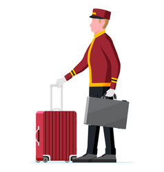 hotel bellboy at work carrying guests bags vector image