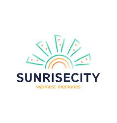 house sun logo real estate building icon sign vector image