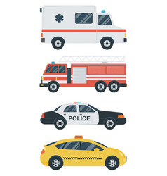 Isolated transport icons police car ambulance vector
