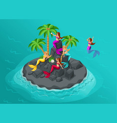 isometry is an island of mermaids in the sea sire vector image