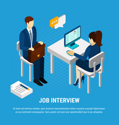 job interview isometric background vector image
