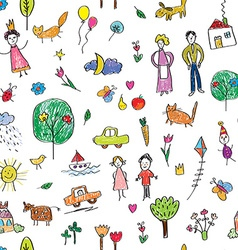 Kids drawing funny seamless pattern - cute vector