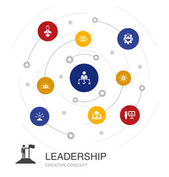 Leadership colored circle concept with simple vector