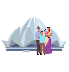lotus temple indian family sari clothes vector image