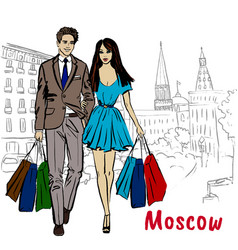 man and woman with shopping bags in moscow vector image