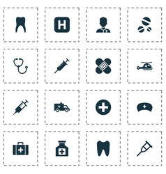 Medicine icons set with claw copter device and vector